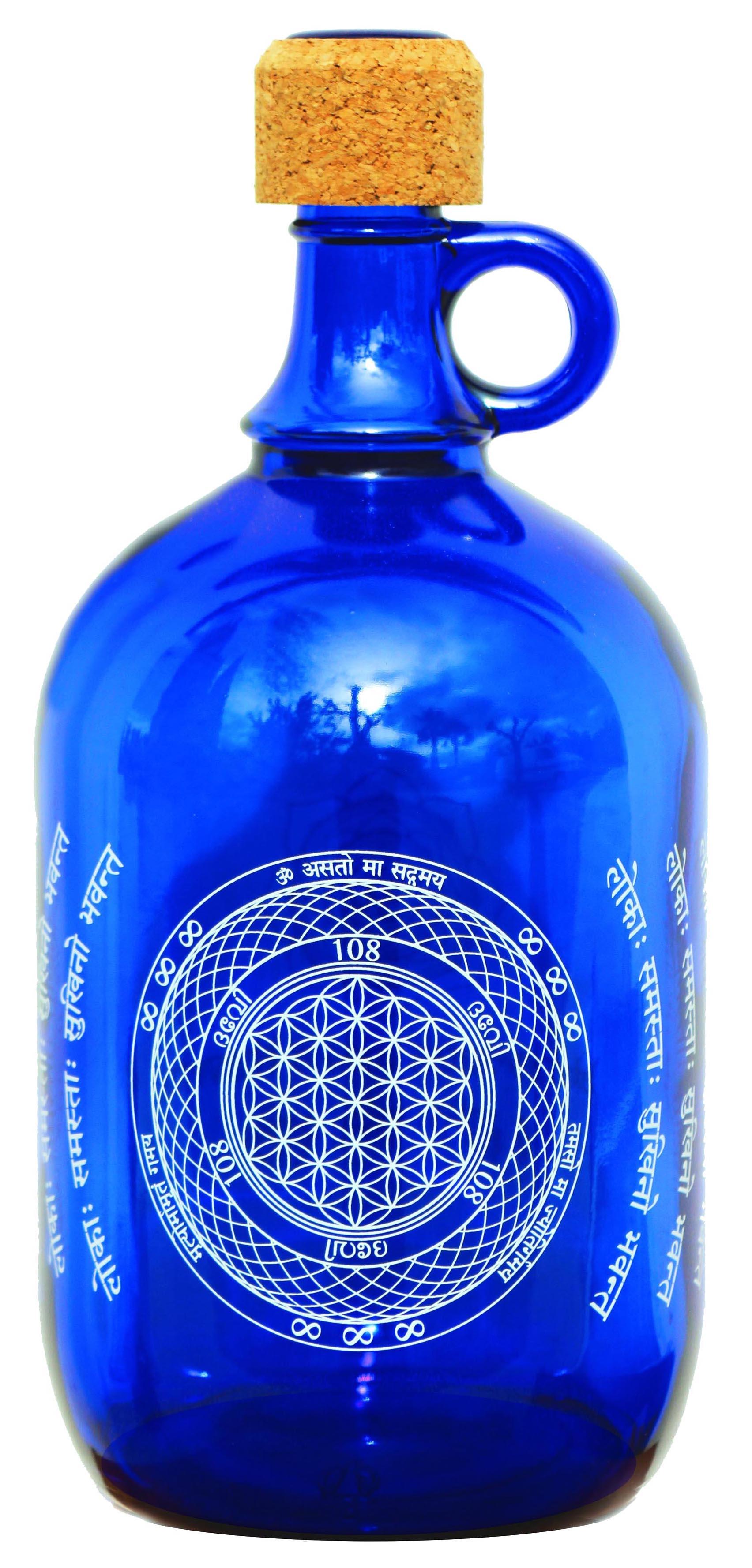 """Devi Water, """"Blume des Lebens"""", Blauglas Wasserflasche, 2L"""