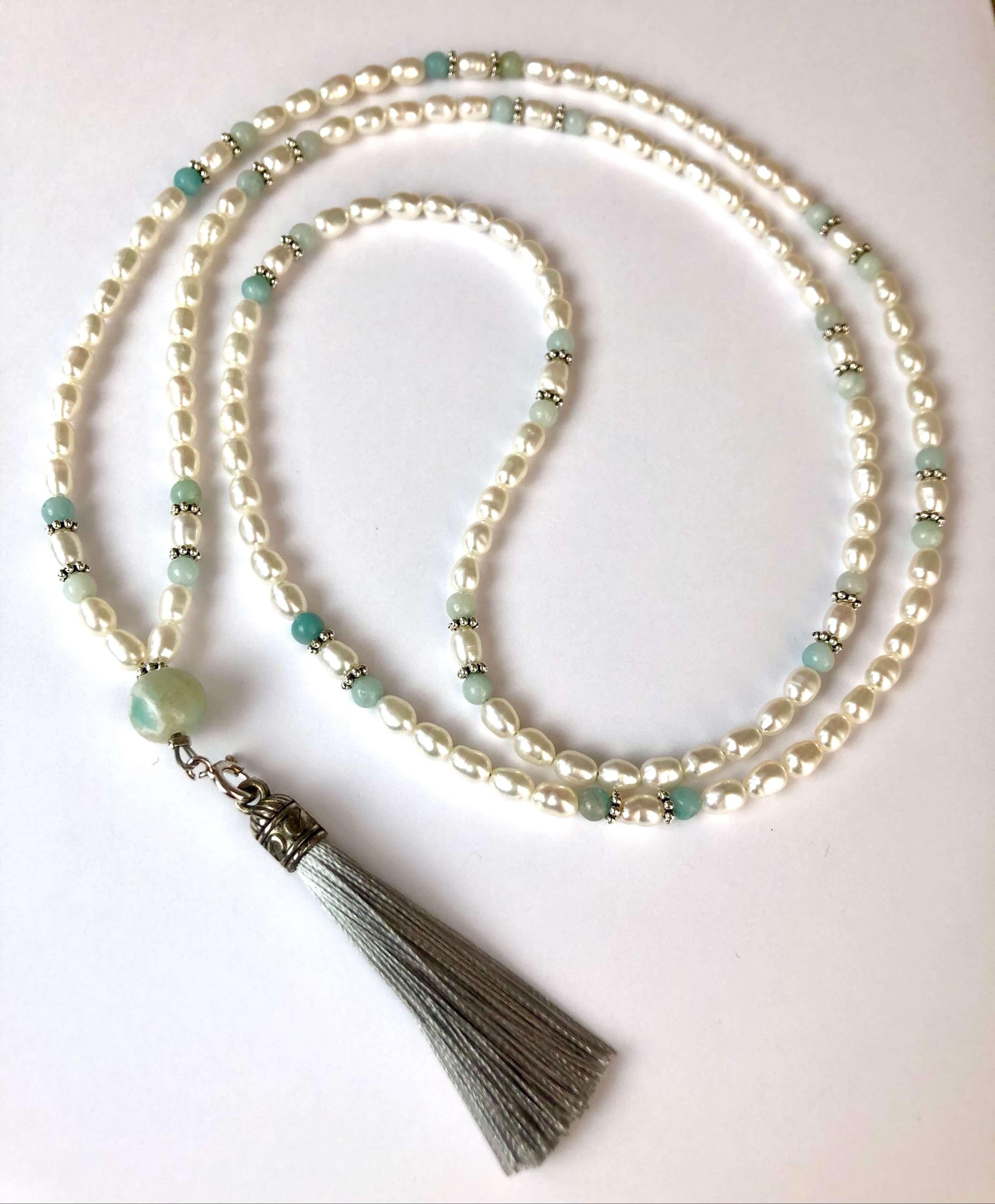 Perle und Amazonit Kette
